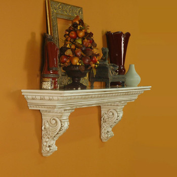 The Athens mantel shelf, with solid wood corbels.  Glaze finish shown