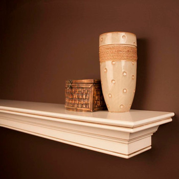 Stevenson Decorated Fireplace Mantel Shelf by NewEnglandClassic in Hazelnut Finish - Corner Detail