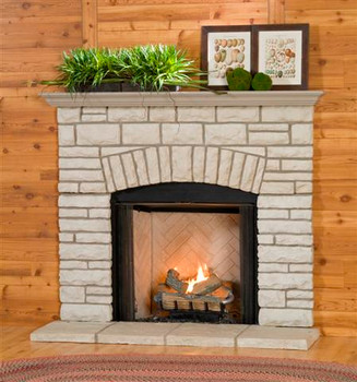 Give your home a warm look with the Arch stone mantel.