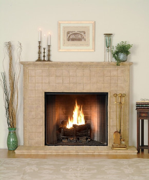 Attention to fine Italian styling marks this cast stone mantel.  Hearth included.