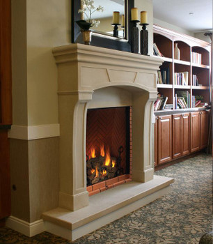 Beautiful frame work in the header of the custom stone mantel.