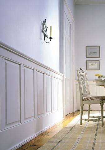 Raised paneling sets off any room or hallway for a more formal look