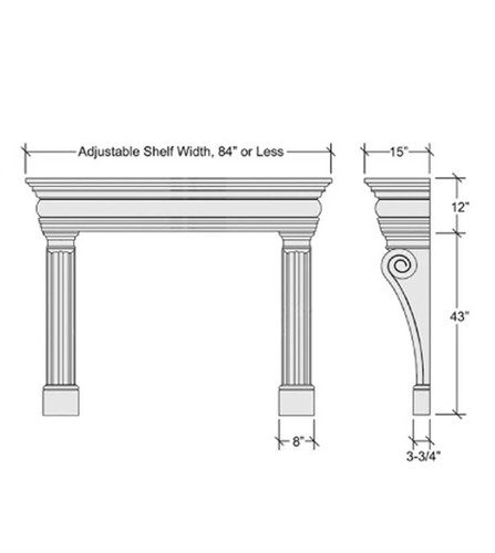 Illustration of the Regal stone mantel.