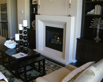 Modern stylish stone fireplace mantel available in four limestone colors, including an off white color named Linen.