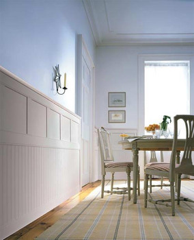 Classic Cottage wainscoting is a combination of bead board, a center rail, an upper panel and top rail system.