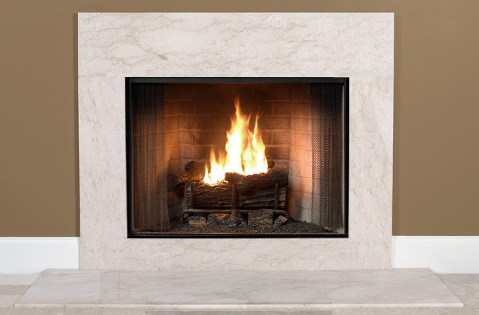 Antique beige marble fireplace surround facing for Marble for fireplace surround