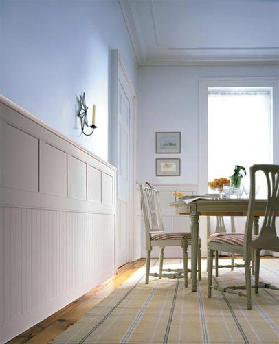 Classic Cottage combines two popular styles of wainscoting in a two-tiered system.  Beadboard at the bottom, topped with either Flat Panel or Raised Paneling in the second tier.
