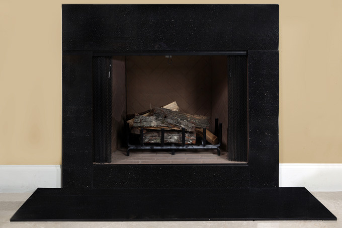 Black Cleft Slate Fireplace : Black galaxy granite fireplace surround facing kit