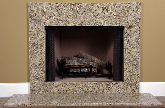 Venetian gold granite fireplace surround facing for Granite fireplace mantels
