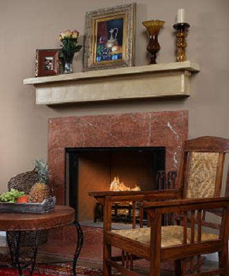 Marble facing shown with a wood mantel shelf.