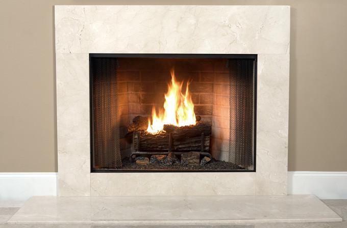 Installed Cream Marfil marble firepolace facing - Bianco Venatino White Italian Marble Fireplace Surround Facing