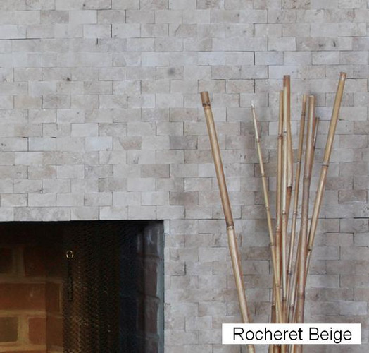 "Rocheret Beige color option shown. Our tiles are 1"" x 2"" x 3/8"""