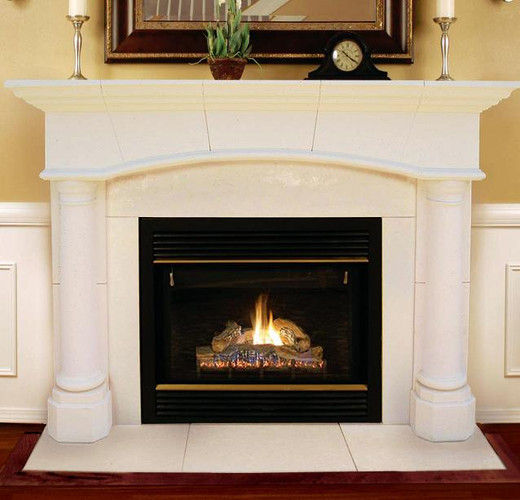 The Barrington Arched Cast Stone Mantel  with understated elegance fits a variety of fireplace sizes with its adjustable stone surround facing panels.  The matching hearth is included!