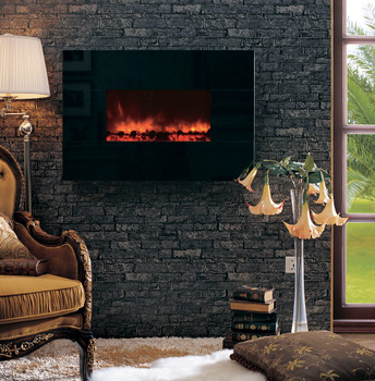 "The popularly priced 38"" wall mounted electric fireplace has a Crystal Black facing as standard equipment, or you may order it with optional natural stone Facing Frames to customize your room."