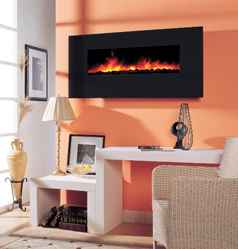 "Black Crystal Glass facing is the most economically priced electric fireplace.  It is just under 57"" wide, about 20"" tall and just over 5"" deep.  If is a fully featured electric fireplace."