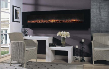 The BG240 wall mount electric fireplace is large, to make a statement in nearly any setting.  It includes electric bulb generated &quot;flames&quot; for energy efficiency and long life. Multi-function infrared remote control included!