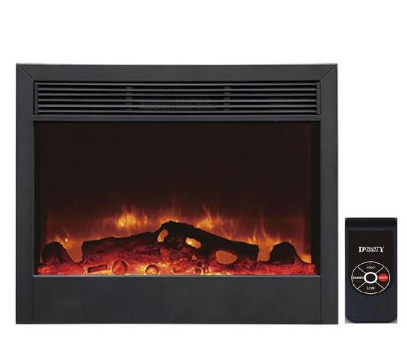 "Detail view of our SD33"" Electric Fireplace, featuring electric flame technology and a two stage space heater (5,000 Btu's at High) that will warm up to 400 square feet.  Remote control included.  Inserts into a cabinet, a mantel or into the wall.  Approximately 33""W x 29""H x 7""D"