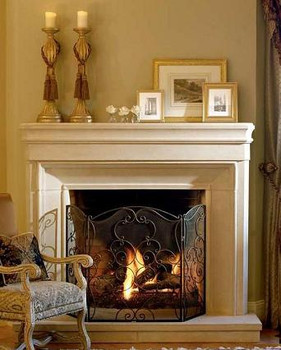 The Baron thin cast stone mantel.