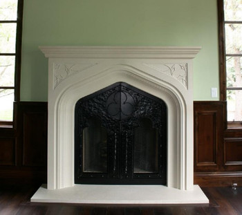 The Harvard Stone Mantel, pure Tudor styling (custom doors not included)