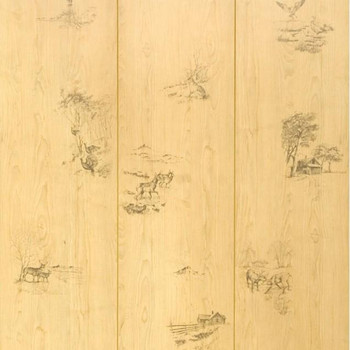 Close up of Hunters Woods deer and duck paneling. Sampling of images