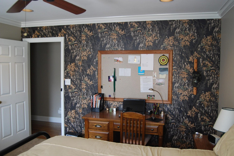 Mossy Oak camouflage paneling featured in a boy's bedroom makeover