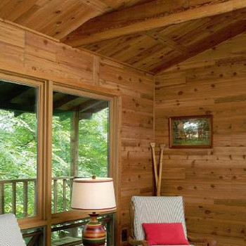 Western red cedar wall paneling.