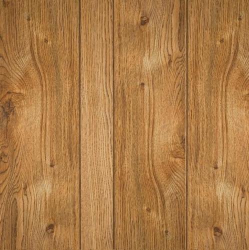 Gallant oak wall paneling has 9-grrove pattern.  Medium dark brown