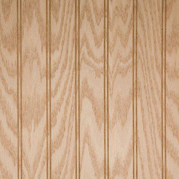 Oak veneer plywood paneling.