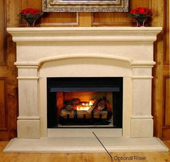 """The Optional Stone Riser.  11 x 49"""" Cut on-site and used on the wall below fireboxes that are raised a few inches from the floor."""