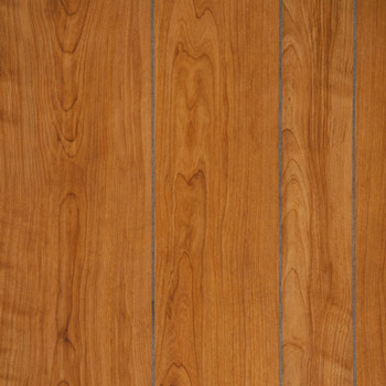 Williamsburg Cherry Paneling.  A medium brown random plank, grooved paneling