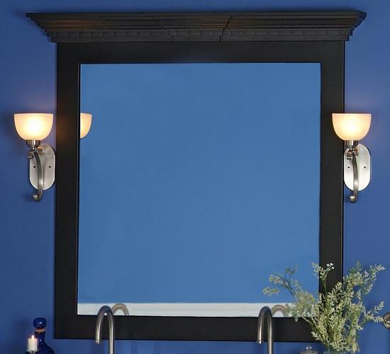 Roanoke Mirror Frame Cap and Keystone on Black Newburg Frame