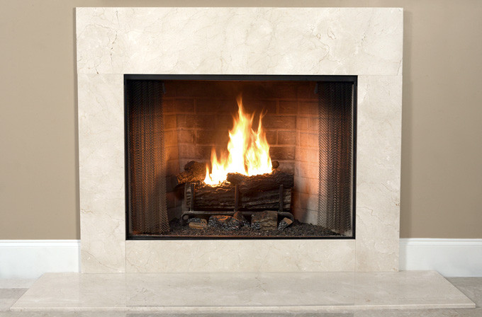 crema marfil fireplace facing marble surround