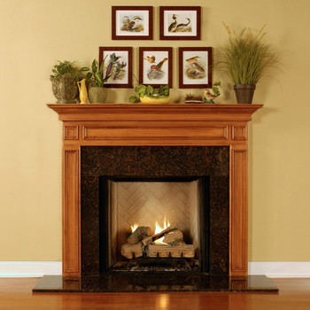 This image shows the design of the mantel, not the wood or finish of the clearance model