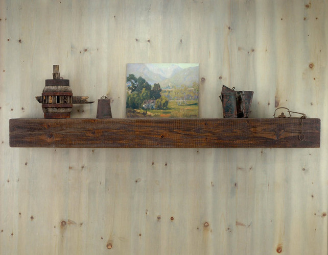 Appalachian Rustic Mantel Shelf in Antique Brown