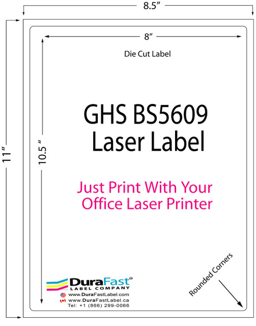 """8""""x10.5"""" GHS BS5609 Laser Label which can be printed with your office laser printers from HP and Lexmark"""