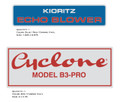 Cyclone Model B3-PRO / Kioritz Echo Blower Decals
