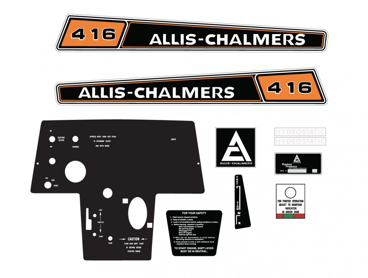 Allis Chalmers Decal Kits : Allis chalmers hydro kit vintage reproductions