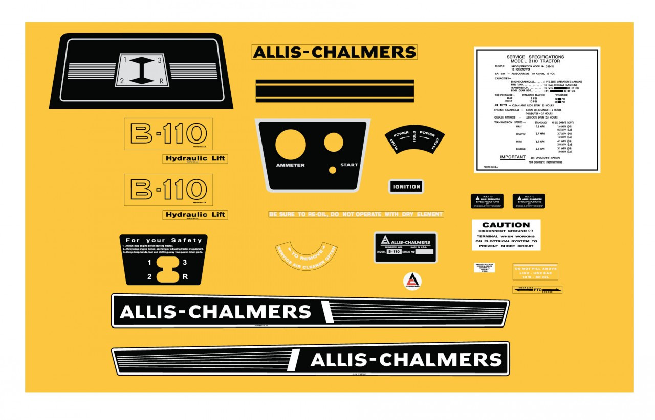 Allis Chalmers Decal Kits : B early allis chalmers kit vintage reproductions