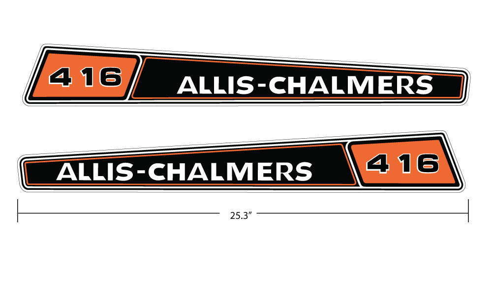 Garden Pulling Tractor Decal : Allis chalmers lawn tractor hood decals vintage