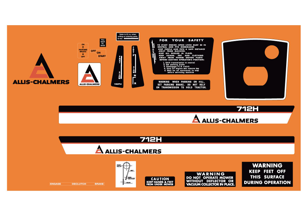 Allis Chalmers Decal Kits : Allis chalmers h early kit with warning decals