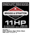 Briggs & Stratton 11HP 399 CC Decal