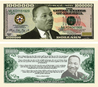 Martin Luther King Jr Million Dollar Novelty Bills