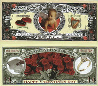 Valentine's Day 14 Dollar Bill