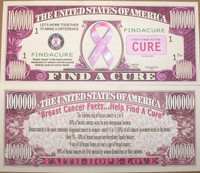 &quot;Find A Cure&quot; One Million Dollar Bill
