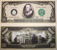 President Thomas Jefferson One Million Dollar Bill