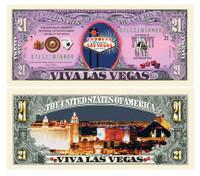 LAS VEGAS SIN CITY GAMBLING 21 DOLLAR BILL