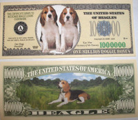 Beagle One Million Dollar Bill