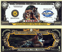 Endangered Tiger One Million Dollar Bill