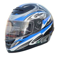 DOT Full Face Graphic RZ80 Blue Motorcycle Helmet