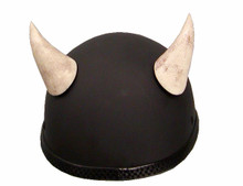 Devil Motorcycle Helmet Horns Large Curved - Bone